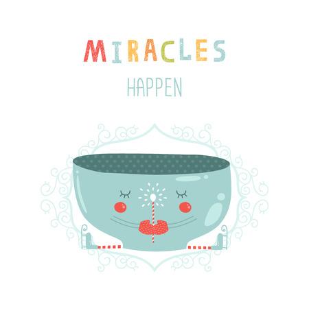 milagros: Vector de la tarjeta de Navidad con taza linda, varita m�gica y patines. Ilustraci�n del A�o Nuevo Los milagros ocurren con elementos decorativos