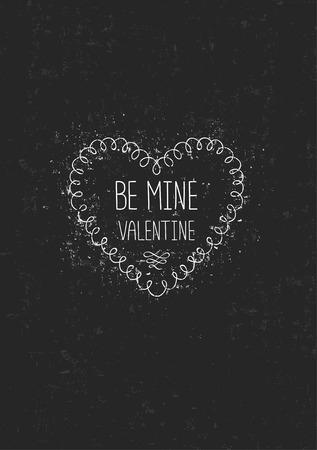 Vintage love greeting card on antique texture. Be mine valentine, vector illustration