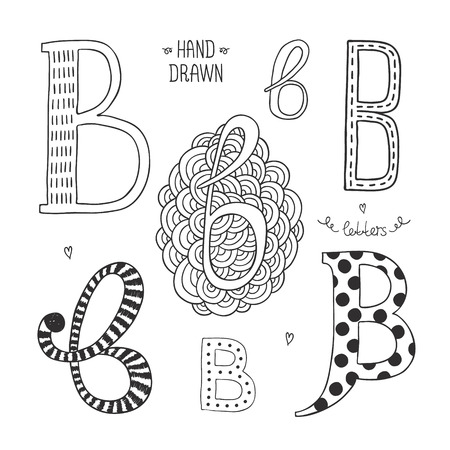 letter b: Vector hand drawn alphabet, letter b. Doodle letters set isolated on white background