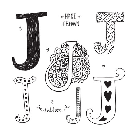 Vector hand drawn alphabet, letter j. Doodle letters set isolated on white background Vector