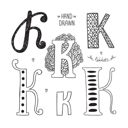 letter k: Vector hand drawn alphabet, letter k. Doodle letters set isolated on white background