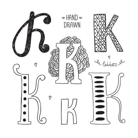 letter k: Vector hand drawn alphabet, letter k. Doodle letters set isolated on white background