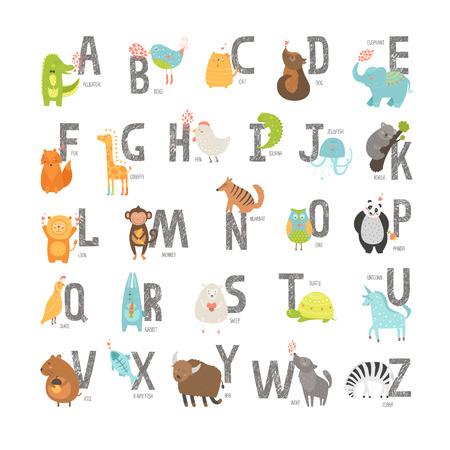 Bonito alfabeto vetor zoológico com animais dos desenhos animados isolado no fundo branco. Grunge letras, gato, cachorro, tartaruga, elefante, panda, jacaré, leão, zebra