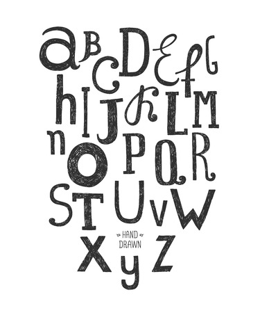 Vector hand drawn alphabet isolated on white background, doodle letters collection