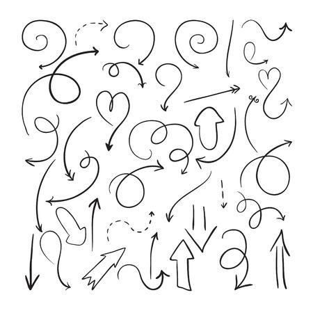 흰색 배경에 벡터 손으로 그린 화살표의 컬렉션