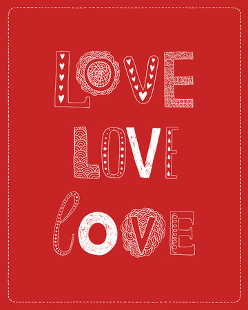 Love greeting card with hand drawn letters on red background Vector