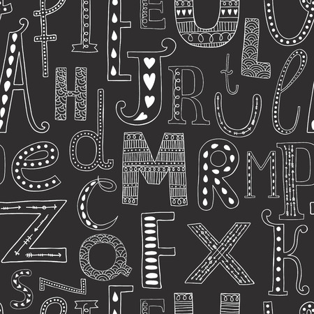 Vector background with hand drawn alphabet, seamless pattern on black background Vector