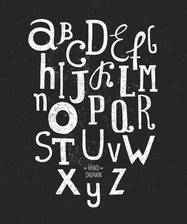 Vector hand drawn alphabet isolated on black background with retro texture, doodle letters collection on chalkboard
