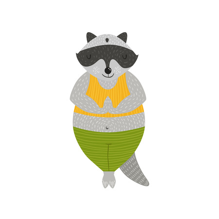 namaste: Animal yoga illustration, cute racoon in the pose Namaste isolated on white background Illustration