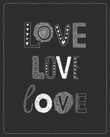 decorative letters: Love greeting card with hand drawn decorative letters on black background