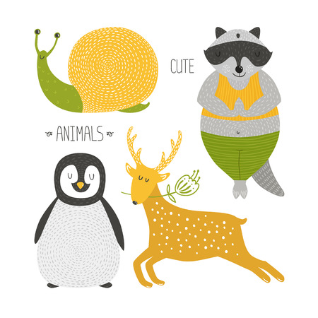 Cute animals collection. Vector illustration with raccoon, snail, penguin and deer isolated on white background