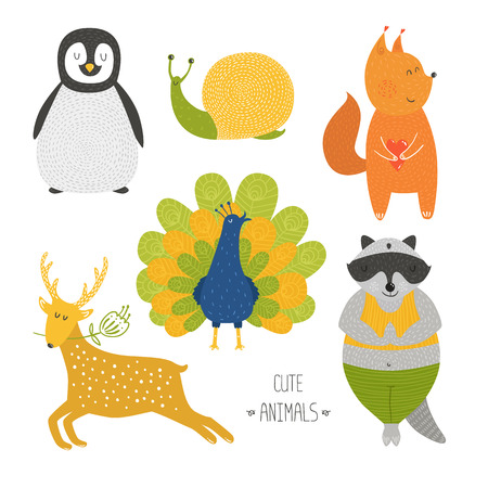 Cute animals collection. Vector illustration with raccoon, snail, penguin, deer, peafowl and  squirrel isolated on white background Vector