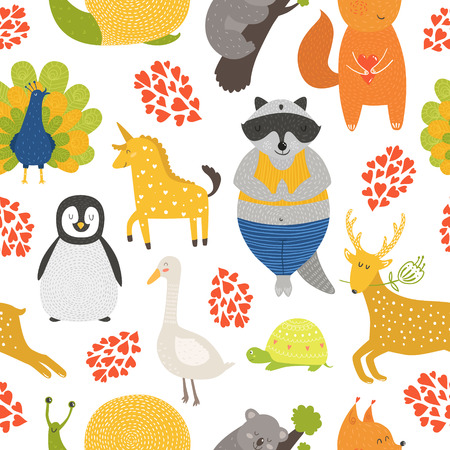 peafowl: Vector background with cute animals. Cartoon raccoon, snail, penguin, deer, peafowl; squirrel, turtle, panda, goose and unicorn isolated on white background