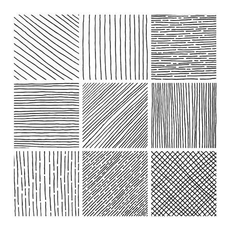 Vector collection ink hand drawn hatch texture, ink lines, points, hatching, strokes and abstract graphic design elements isolated on white background Illustration