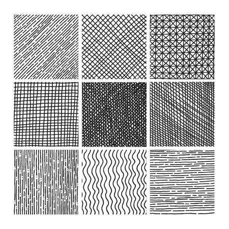 hatch: Vector collection ink hand drawn hatch texture, ink lines, points, hatching, strokes and abstract graphic design elements isolated on white background Illustration