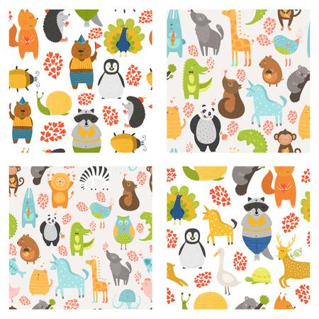 귀여운 동물 벡터 원활한 패턴입니다. 고양이, 개, 올빼미, 토끼, 곰, 팬더, 원숭이, 악어, 새, 유니콘, 사자와 컬렉션 동물원 배경, 더 코알라