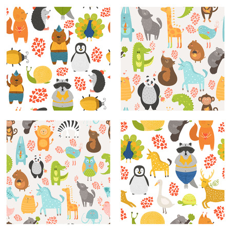 Vector naadloze patronen met schattige dieren. Verzameling dierentuin achtergronden met kat, hond, uil, konijn, beer, panda, aap, alligator, vogel, eenhoorn, leeuw, koala een meer