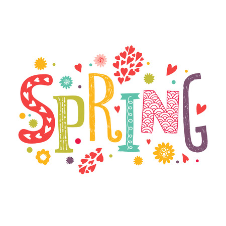 Vector lettering Spring with decorative floral elements isolated on white background, hand drawn letters