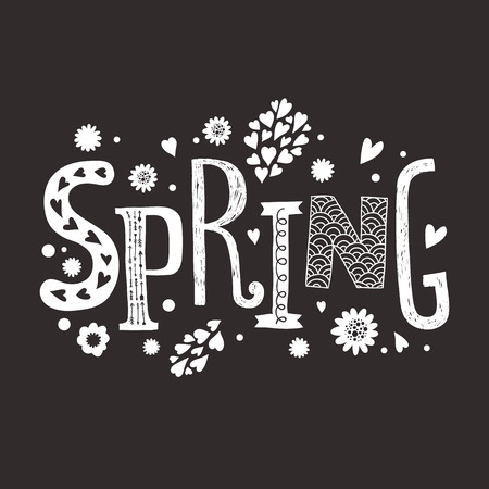 Vector lettering Spring with decorative floral elements isolated on black background, hand drawn letters Vector
