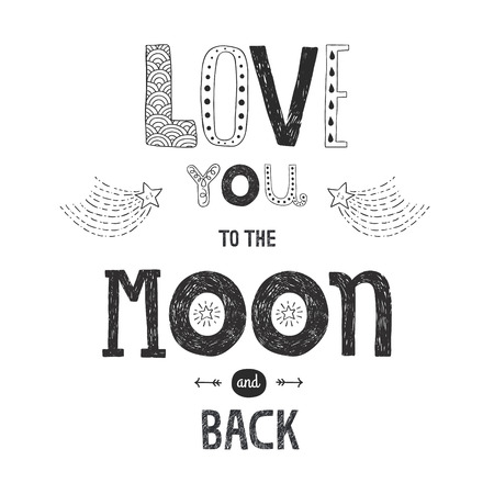 back to back couple: Vector lettering Love you to yhe moon and back with stars, arrows and comets isolated on white background, hand drawn letters