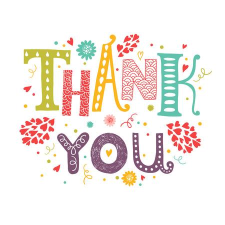 tipografia: Vector tarjeta de agradecimiento con letras dibujado a mano con elementos florales decorativos aislados sobre fondo blanco