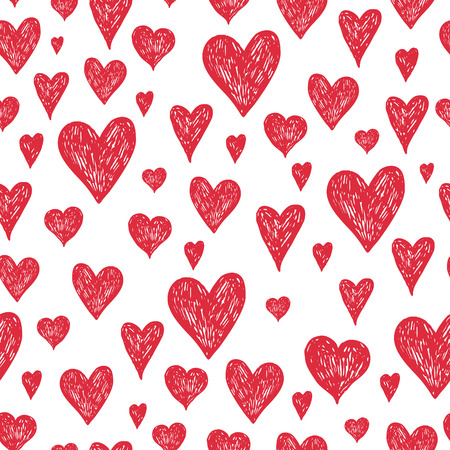 Vector ink pen background with red hearts, grunge seamless hand drawn pattern on white background Imagens - 37240658