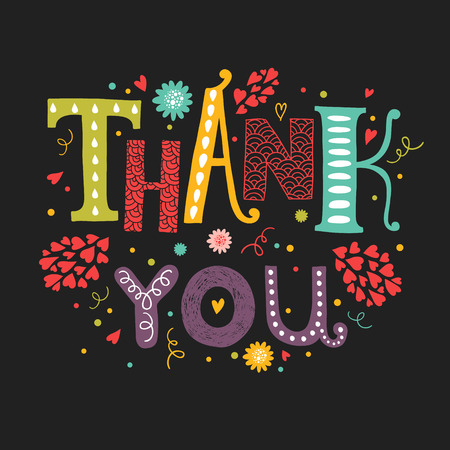 thank you note: Vector Thank you card with hand drawn lettering with flower decorative elements on black background for greeting card, invitation and web design Illustration