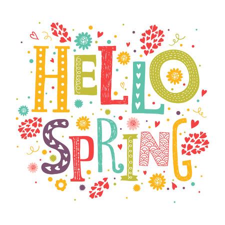 Vector belettering Hallo lente met decoratieve bloem elementen op een witte achtergrond, met de hand getekende brieven voor de wenskaart, uitnodiging en webdesign
