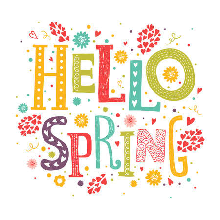 spring green: Vector lettering Hello spring with decorative flower elements on white background, hand drawn letters for greeting card, invitation and web design