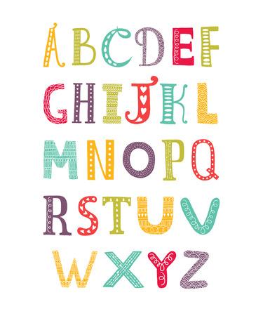 벡터 색 손으로 그린 알파벳 흰색 배경에 고립, 낙서 편지 모음