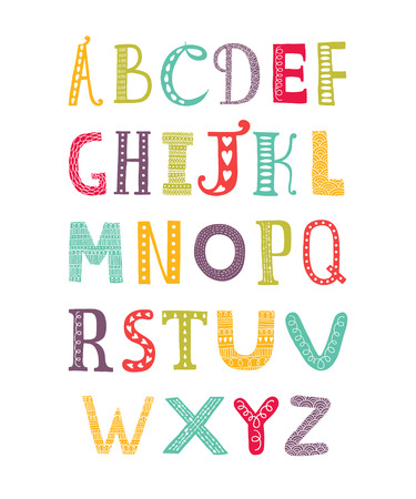 latin alphabet: Vector color hand drawn alphabet isolated on white background, doodle letters collection Illustration