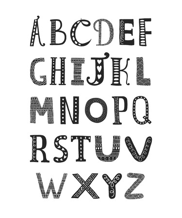 Vector hand drawn alphabet isolated on white background, doodle letters collection with decorative, floral and etnic elements