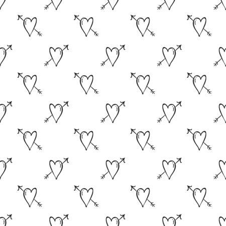hintergrund liebe: Vector Herz-Hintergrund, Liebe und Pfeile auf wei�em Hintergrund, nahtlose romantischen Muster doodle Tapete