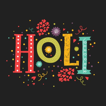 gulal: Vector greeting card Happy holi, Holi festival lettering with color decorative elements on black backgrounds. Indian festival Happy Holi