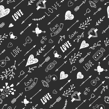 Love background with vintage romantic elements, heart, arrow, lettering, tatoo, flower, tea and sweet, Hand drawn retro pattern, chalkboard background, vector illustration Imagens - 37241163