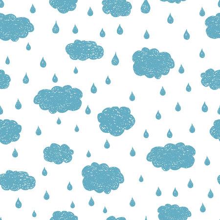 Vector regen achtergrond hand getrokken naadloos patroon. Blauwe wolken en regendruppels