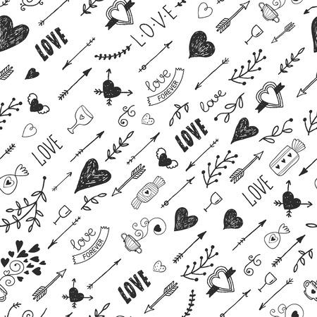 Liefde achtergrond met vintage romantische elementen, hart, pijl, belettering, tatoo, bloem, thee en zoete, Getrokken retro patroon, vector illustratie Stock Illustratie