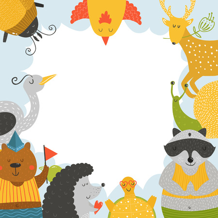 animal border: Cute animal frame with baby animals bear, bird, raccoon, beetle, hedgehog, tortoise,  snail and deer. Animal border, animal postcard with love Illustration