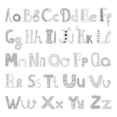 Vector hand drawn alphabet with decorative elements for design postcard, invitation, web design etc. Hand drawn letters, doodle alphabet isolated on white background
