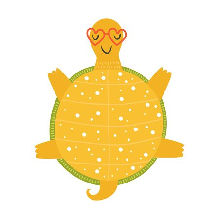 Vector tortoise relaxing in sunglasses on sun, cartoon turtle, happy tortoise isolated on white background Vector