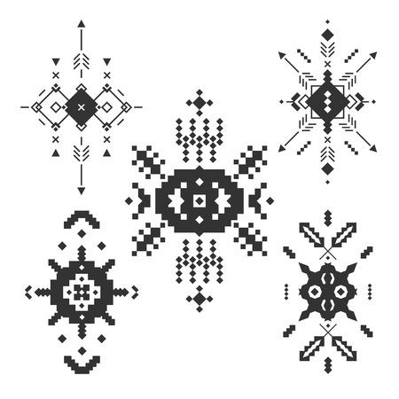 tribales: Elementos tribales del vector, colección étnica, stile azteca, arte tribal, diseño tribal aislados sobre fondo blanco