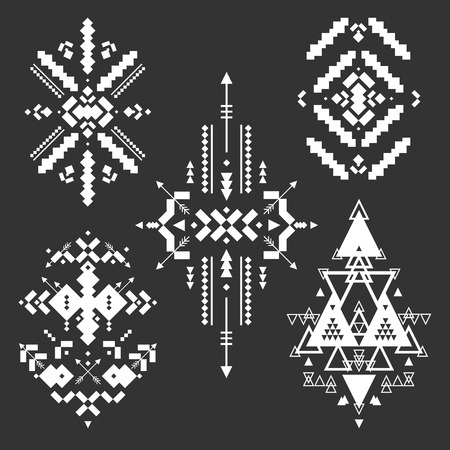 american indian aztec: Vector Tribal elements, ethnic collection, aztec stile, tribal art, tribal design  isolated on black background