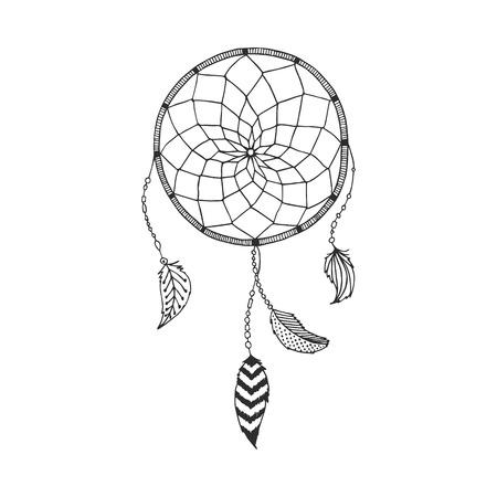 atrapasueños: Vector dibujado a mano Dreamcatcher, diseño tribal, estilo boho, con plumas indio aislado en fondo blanco. Étnica, ilustración azteca