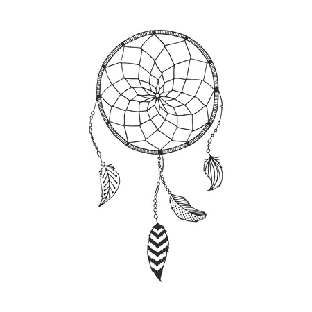 Vector hand drawn Dreamcatcher, tribal design, boho style, with indian feather isolated on white background. Ethnic, aztec illustration