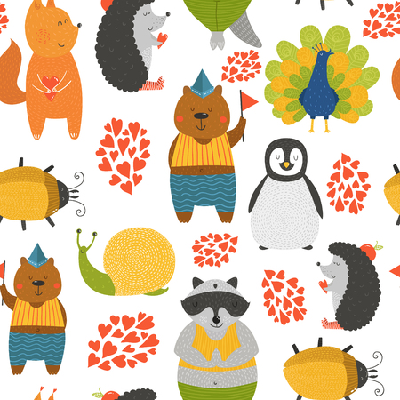 peafowl: Vector background with cute animals. Cartoon raccoon, snail, penguin, peafowl; squirrel, bear, beetle and hedgehog isolated on white background with love