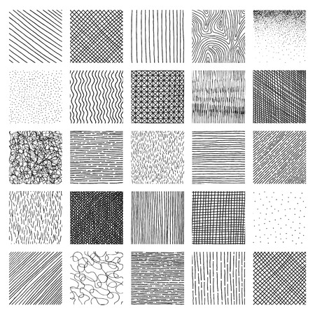 Vector collection ink hand drawn hatch texture, ink lines, points, hatching, strokes and abstract graphic design elements isolated on white background Vettoriali