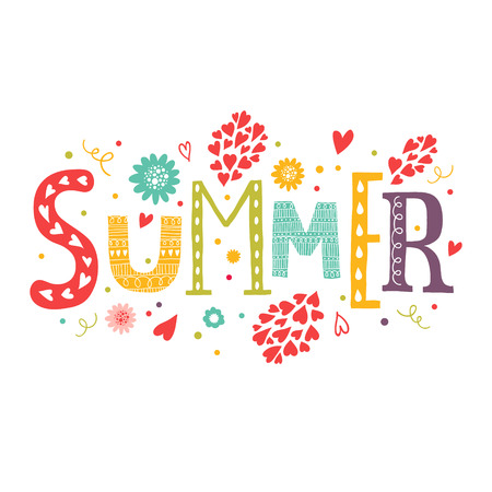 Vector lettering Summer with decorative floral elements isolated on white background, hand drawn letters Imagens - 37243217