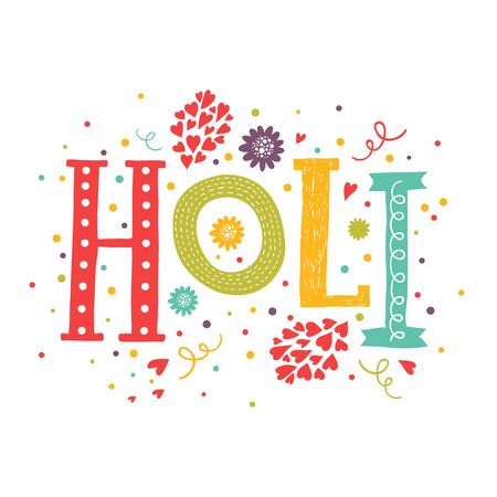 panchami: Vector greeting card Happy holi, Holi festival lettering with color decorative elements isolated on white backgrounds. Indian festival Happy Holi