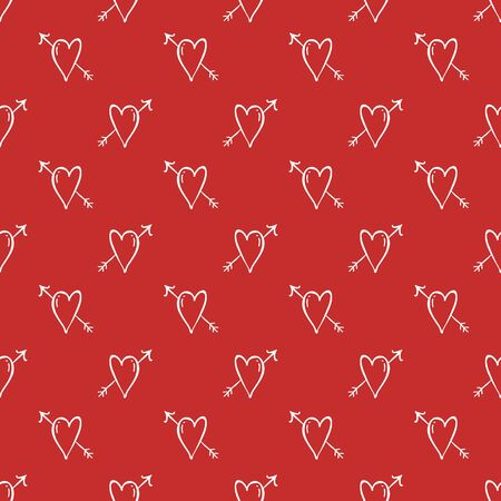 Vector Heart background, love and arrows on red background, seamless romantic pattern. Vector