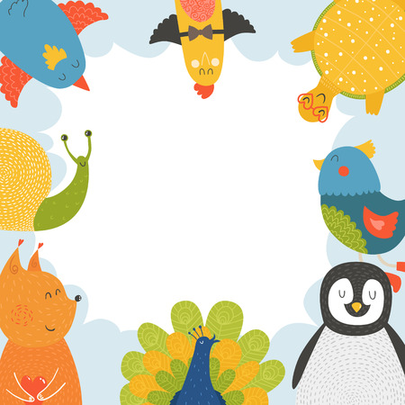 Cute animal frame with baby animals bird, penguin, squirrel, tortoise,  snail and peacock. Animal border, animal postcard with love Vector